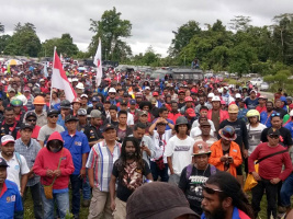 Demonstration der Freeport Streikenden in Papua im Juli 2017