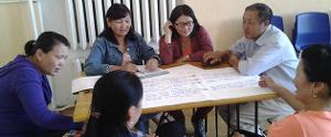 Streikende LehrerInnen Mongolei November 2017