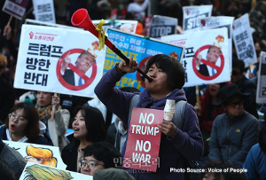 Demonstration in Seoul aus Anlass des Trump Besuches in Südkorea am 6.11.2017
