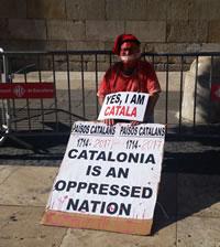 Protest der katalonischen Unabhängigkeitsbewegung in Barcelona im Oktober 2017