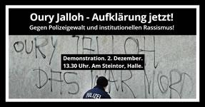 Demo in Halle am 2.12.17: Oury Jalloh – Aufklärung jetzt! Gegen Polizeigewalt und institutionellen Rassismus!