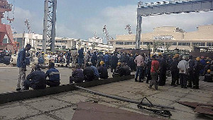 Streikende Werftarbeiter in Alexandria im Mai 2016 - bis heute vor Militärgerichten