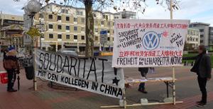 Soliaktion Chefduzen mit chinesischen VW Leiharbeitern in Wolfsburg am 17.11.2017