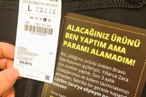 Bei Zara gekauft? Einen solchen Protestzettel der um ihren Lohn betrogenen Arbeiter in der Türkei gefunden? Haben, im Oktober und November 2017, Tausende andere auch...