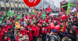 Demonstration gegen Rentenreform in Brüssel am 19.12.2017