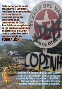 Copinh Plakat gegen Wahlbetrug Dezember 2017