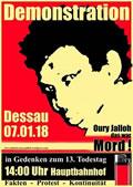 Auf nach Dessau am 7. Januar 2018 zur Gedenkdemonstration an Oury Jalloh!