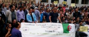 Protest der SNATEGS gegen die Fakenew der algerischen regierung, sie habe sich aufgelöst im Dezember 2017