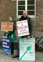 Gewerkschafter Kaspar Michels mit dem »Die AfD ist in Düsseldorf nicht willkommen« - nun soll er 1.500 Euro Strafe zahlen