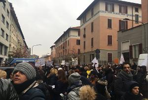 Streiktag der Basisgewerkschaften Italiens gegen neue Diplomordnung am 81.1.18, hier in Mailand