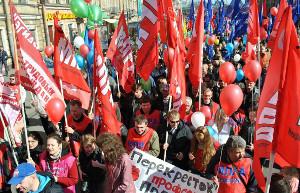 Maidemo 2017 der vom verbot bedrohten Autogewerkschaft MAPRA in Moskau
