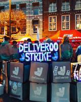 Streik der Fahrradkuriere zum Neujahrstag 2018 hier in Amsterdam