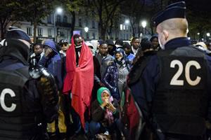 """""""Les personnels de la santé et de la solidarité ne sont pas des chasseurs de migrants !"""" am 11. Januar 2018 beim Gewerkschaftsbund CGT"""