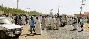 Protest gegen Brotpreiserhöhunh in El Obei, Sudan am 12.1.18