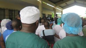 Der erste Warnstreik gegen das Gesetz zum streikverbot in benin am Unikrankenhaus der Hauptstadt am 5.1.18