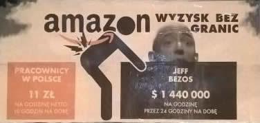 Werbetafel in Poznań: Amazon – Ausbeutung ohne Grenzen. Arbeiter in Polen: 11 Złoty netto pro Stunde, 10 Stunden am Tag, Jeff Bezos: 1.440.000 Dollar pro Stunde, 24 Stunden am Tag
