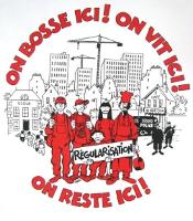 Streikplakat Pariser Papierlose seit 12.2.2018