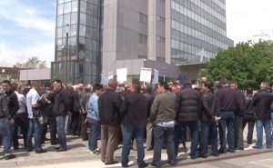Energuearbeiter demonstrieren in Pristina gegen Privatisierung der E-Werke im Kosov im Febeuar 2018