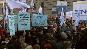Streik im öffentlichen Dienst Sloweniens - der erste Streiktag am 24.1.2018