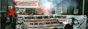 Der Aufbau ebi einer Demo in Zürich Januar 2018