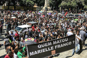 15.3.2018 Protestedemo in Rio einen Tag nach dem Mord an Marielle Franco