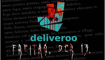 Aktionstag Freitag, der 13. April 2018 egen Essen auf Rädern 4.0. Deliveroo: Betriebsratsbehinderung, Scheinselbständigkeit, Lohndumping