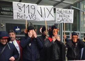 Protest gegen die Untätigkeit der Justiz in Sachen Behinderung der Betriebsratsarbeit durch I-SEC am 07.03.2018 in Frankfurt/M, Foto von Guido Jurock, ver.di