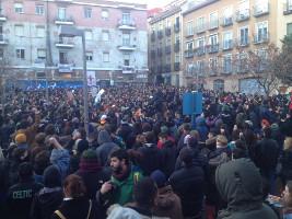 Demonstration gegegn den Tod eines Strassenhändlers in Madrid am 16.3.2018