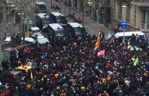 Protest in Barcelona gegen Festnahmne Puigdemonts in der BRD 25.3.2018