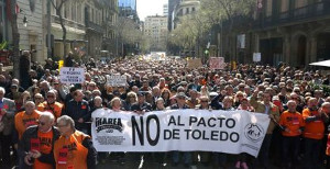 Rentendemo Madrid am 17.3.2018 - des Netzwerkes der Rentenkampagne, die anders als die grossen Gewerkschaften die ganze Rentenpolitik kritisieren