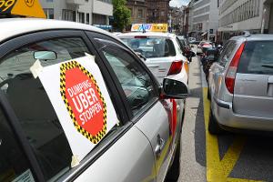 Uberfahrer streiken in Genf Februar 2018