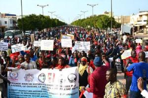 Lehrer demonstrieren in Dakar am 26.4.2018