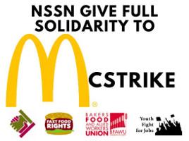 Soliplakat des gewerkschaftlichen Basisnetzwerkes der vertrauensleute mit dem britischen McDonalds Streik am 1.5.2018