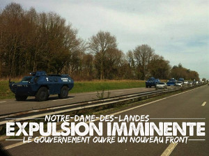 Polizeiaufmarsch zur Räumung des ZAD in Nantes am 6.4.2018