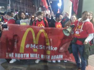 Der Beginnd es McDonald Streiks in Manchester