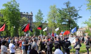 Demonstration gegen Folter des russischen Geheimdienstes an Anarchisten und antifaschisten in St. Petersburg Pfingsten 2018