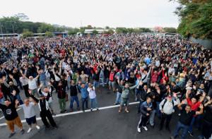 Über 7.900 der 8.000 Daimler Beschäftigten in Sao Bernardo im Streik am 14.5.2018