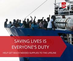 Retten Sie mit uns gemeinsam Menschen im Mittelmeer! Spendenkonto: MISSION LIFELINE e.V.