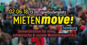 Plakat zur Mietdemonstration in Hamburg am 2.6.2018