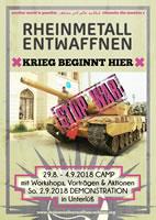 """Rund um den Antikriegstag am 1. September 2018: """"Rheinmetall entwaffnen – Krieg beginnt hier"""""""