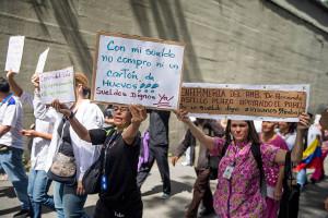 Demonstration streikender Krankenschwestern in Caracas im Juli 2018