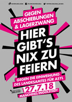 [Kundgebung in Manching am 27.7.2018] Hier gibt´s nix zu feiern! Gegen Abschiebungen und Lagerzwang. Asylrechtsverschärfungen entgegentreten.