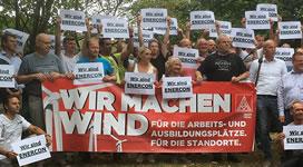 Protest gegen Stellenabbau bei Enercon. Foto: IG Metall