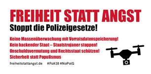 Freiheit statt Angst 2018: Stoppt die Polizeigesetze am 20. Oktober 2018, Berlin