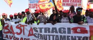 Streikdemo der afrikanischen Erntehelfer am 8.8.2018 in Foggia