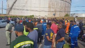 Streikende Ölarbeiter Trinidad am 7.9.2018