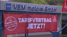 Warnstreik der IG Metall bei VEM Motors in Wernigerode für Tarifvertrag