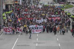 Studidemo am 10.10.2018 in Bogota: Der Widerstand gegen die Privatisierungspläne des neuen Präsidenten mobilisiert die Menschen im Bildungswesen Kolumbiens immer stärker
