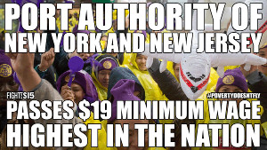 Wichtige Erfolge der Bewegung für einen ausreichenden Mindestlohn in den USA: Die Flughäfen von New York
