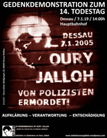 Demoaufruf zum 14. Todestag von Oury Jalloh am 7. Januar 2019 in Dessau / Sachsen-Anhalt